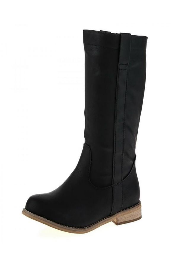 woman boot with wooden heel black