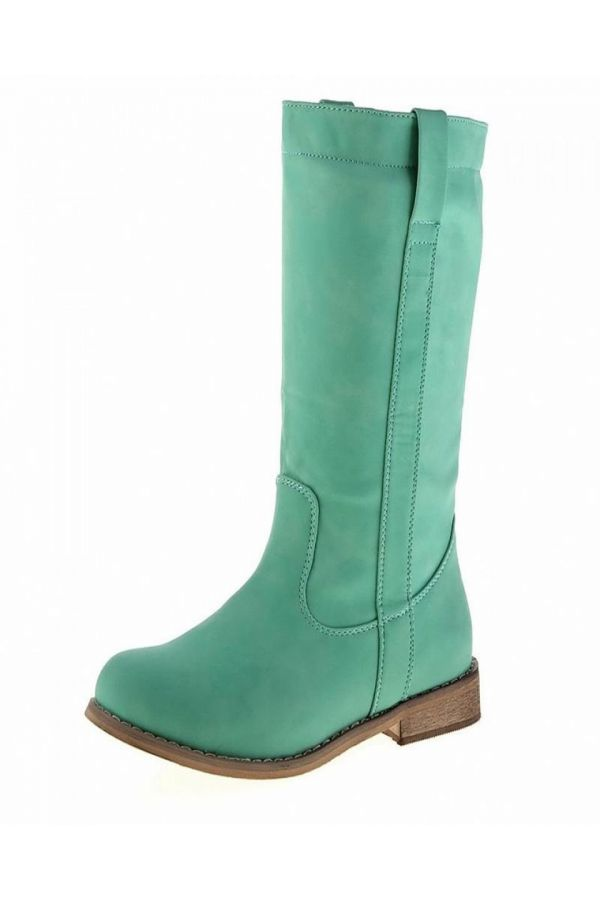 woman boot with wooden heel green