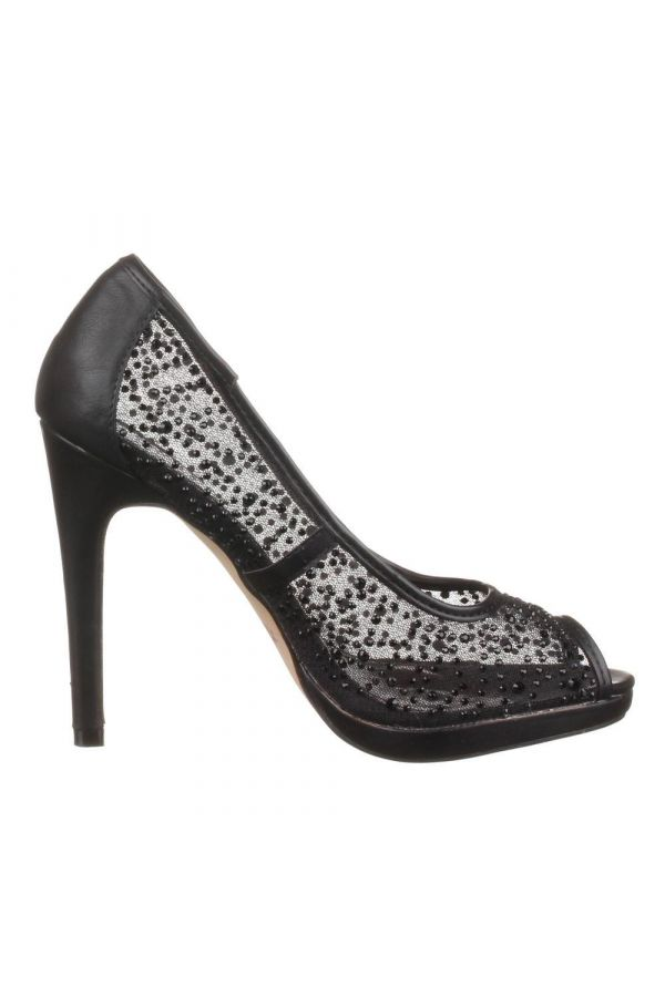SW82612 PEEP TOE PUMP LACE BLACK