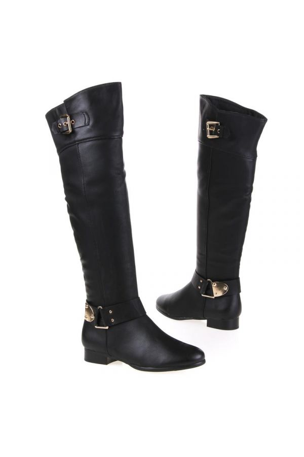 riding knee boot decorated with golden metallic buckles black