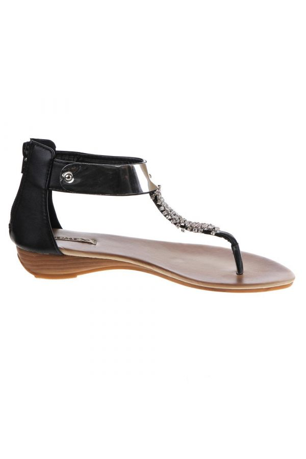 flat women sandal shoe decorated with strass and metallic panel black