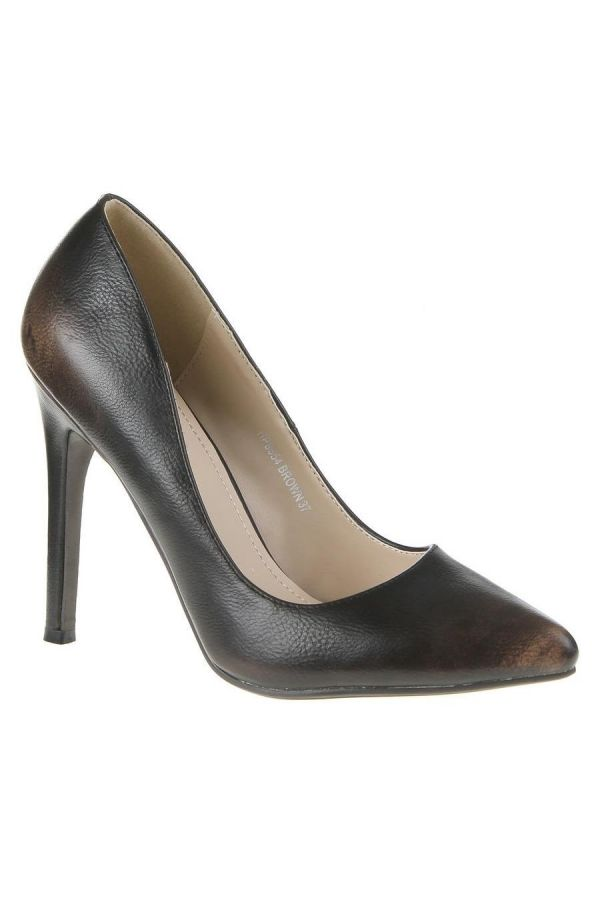 SW85541 PUMP POINTED DARK BROWN