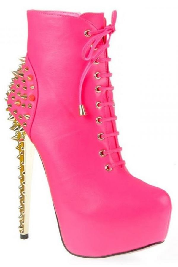 exclusive high heels ankle boot with cords decorated with gold studs fuchsia