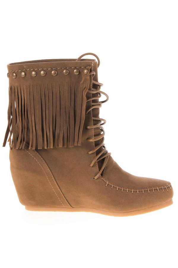 suede ankle boot with cords at indian style decorated with fringes and gold studs platform heel camel