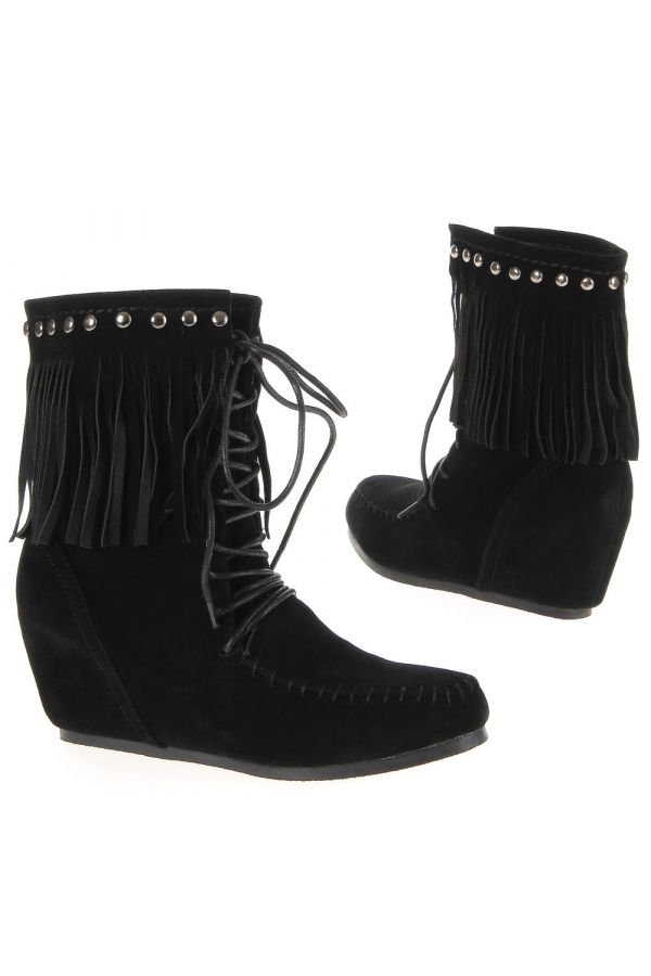suede ankle boot with cords at indian style decorated with fringes and studs platform heel black
