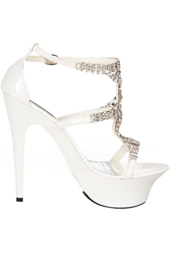 patent high heeled evening sandal decorated with silver rhinestones white