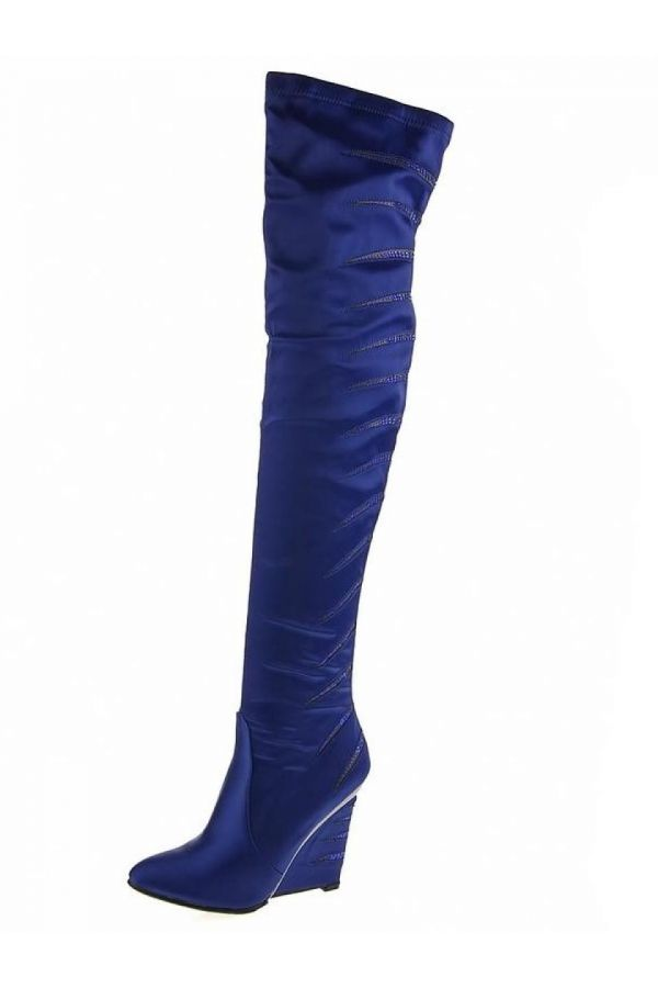 exclusive satin stretch knee boot decorated with strass platform heel blue