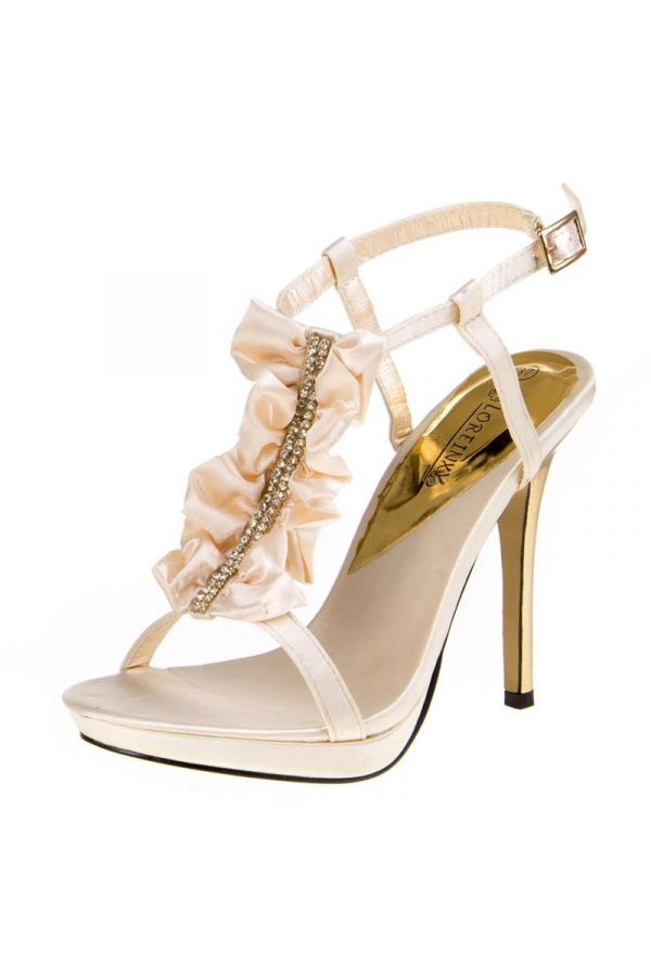 satin formal sandal with strass and golden heel champagne
