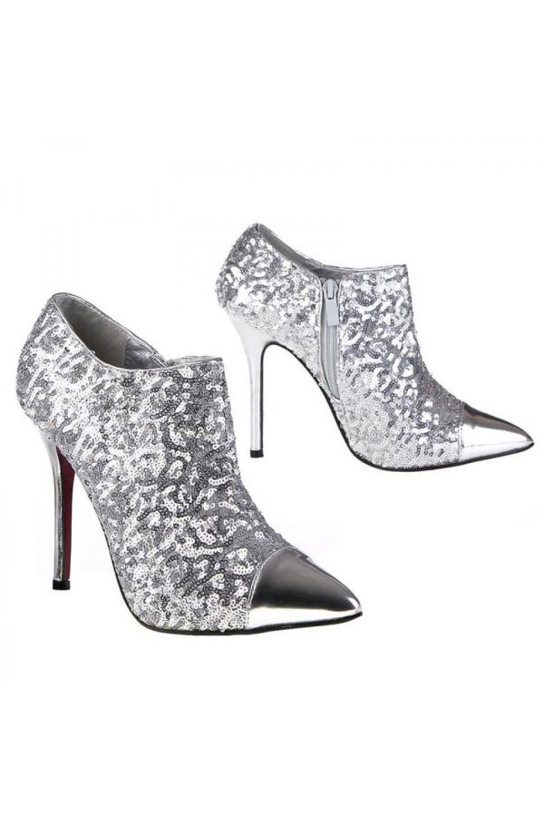 formal pointed pump decorated with sequins and patent panel silver