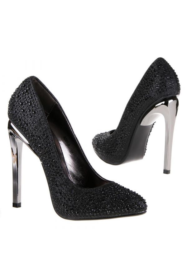 satin high heeled pump decorated with crystallized stones and silver heel black