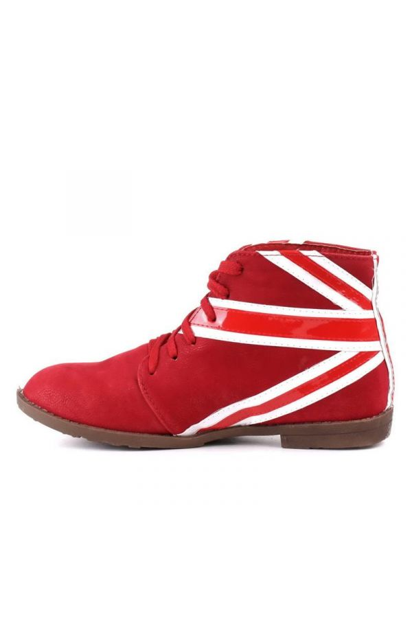 ankle boot with cords decorated with patent white colour flag design red