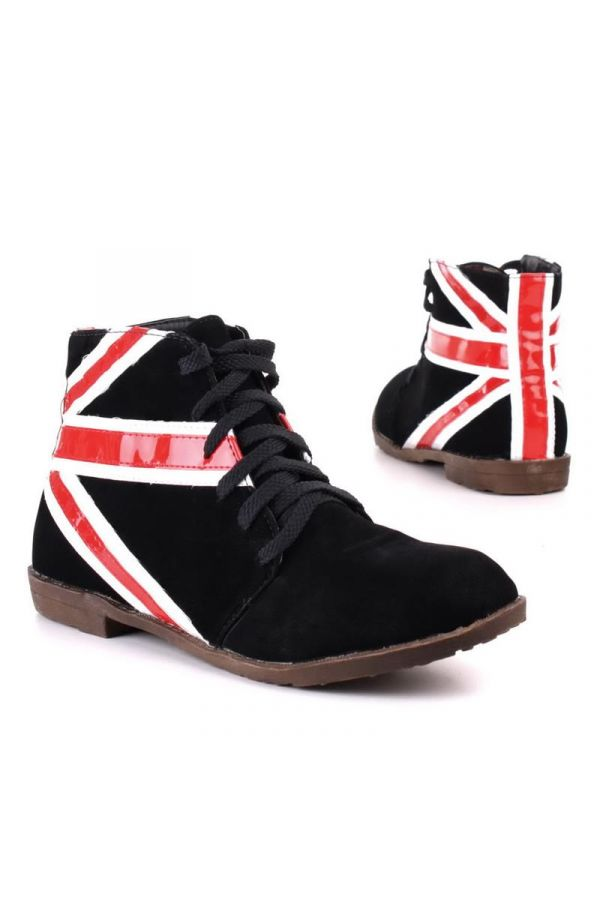ankle boot with cords decorated with patent white colour flag design black