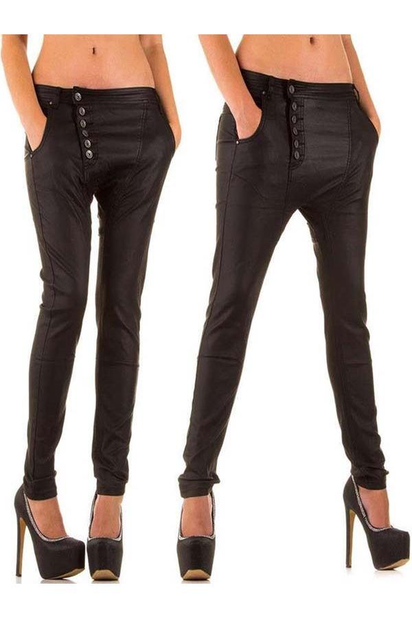 leather imitation pants breeches design buttons front black