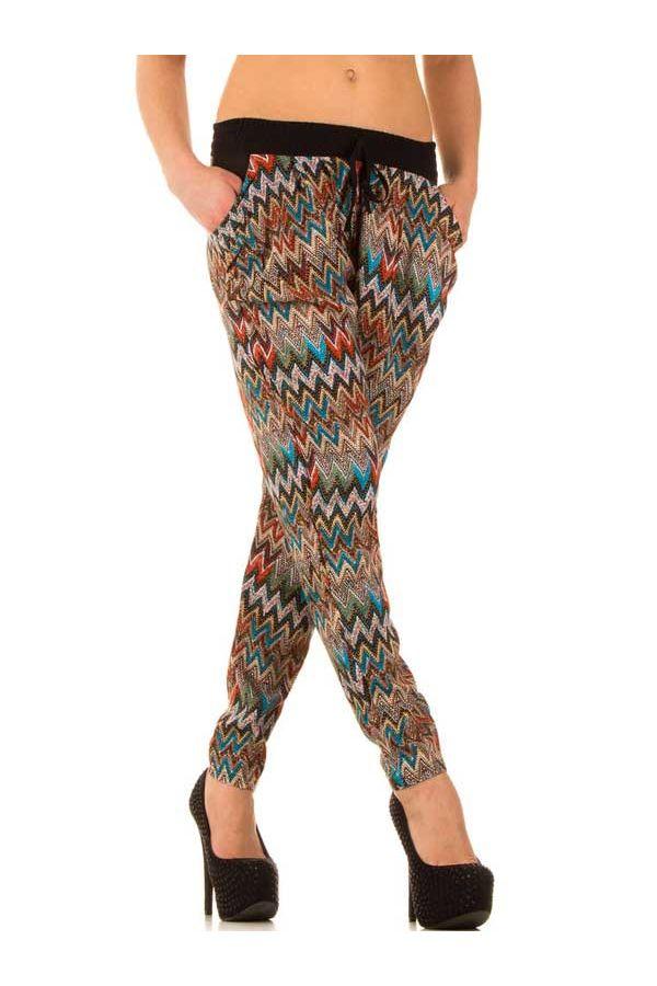 πολύχρωμο μπεζ παντελόνι σαλβάρι με λάστιχο στη μέση και πλαϊνές τσέπες