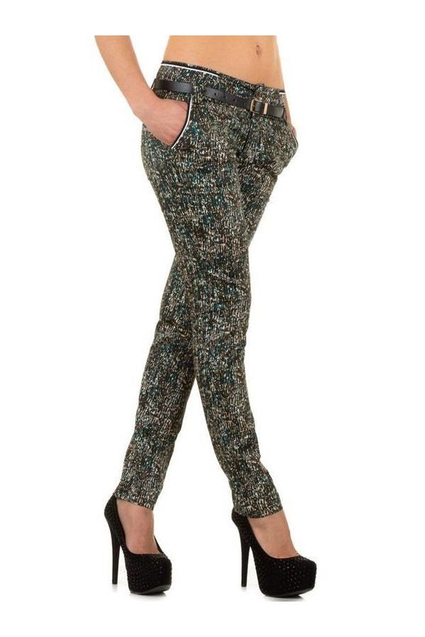 business pants with side pockets and belt multi colour