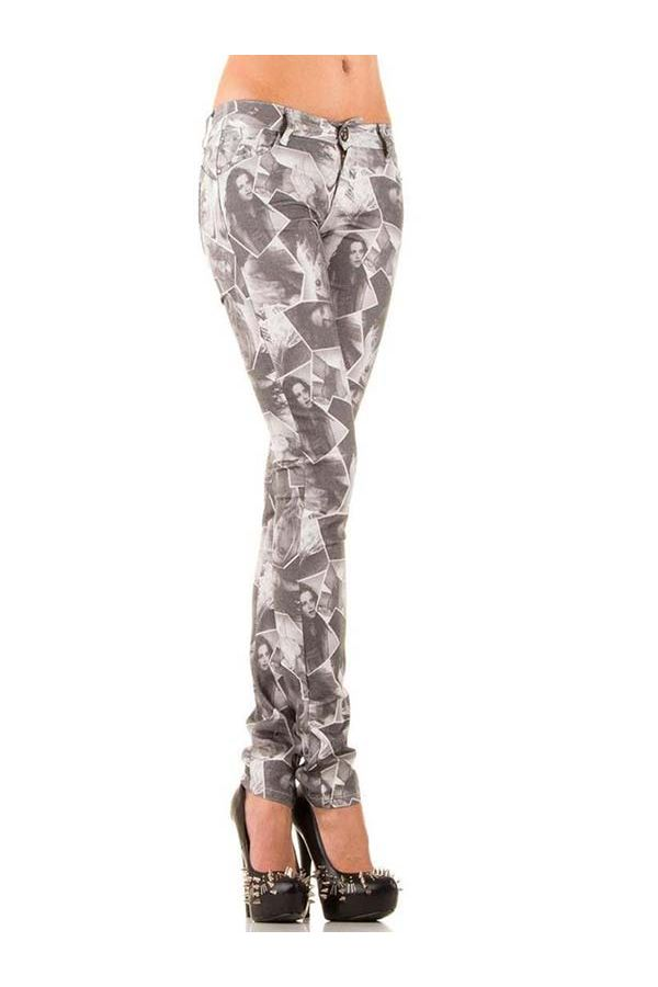 tight jean pants with decorative print designs type newspaper grey