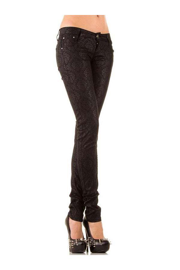 παντελόνι δερματίνη, με φλοράλ μοτίβο μαύρο