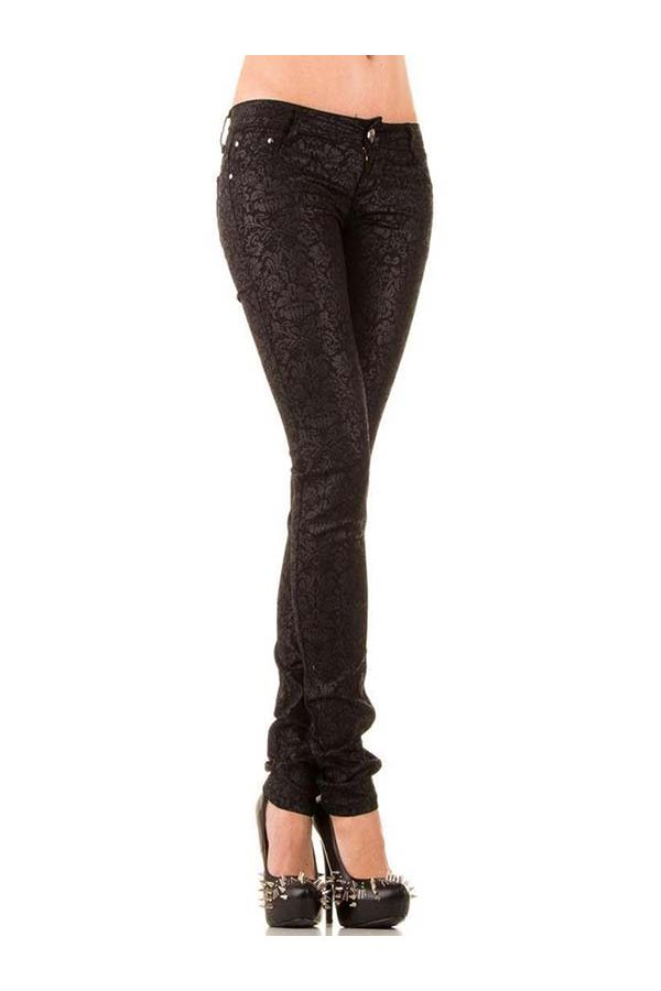 leather imitation pants at floral motif black