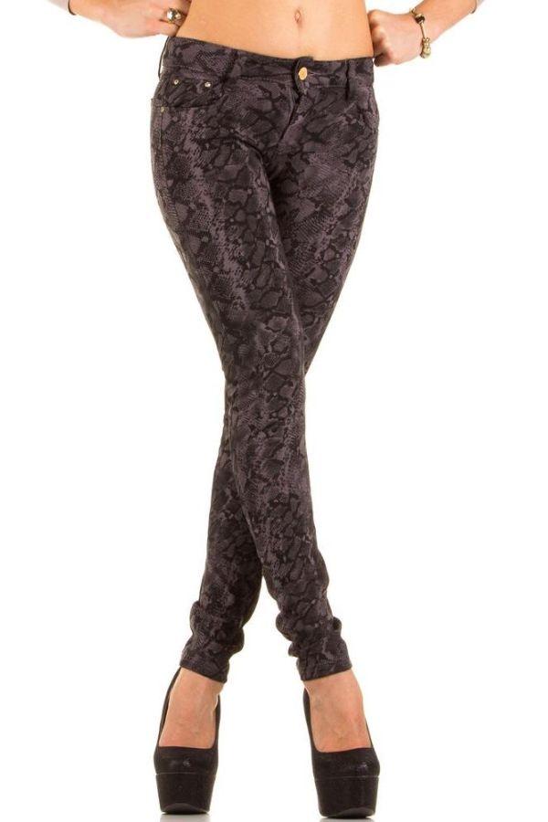 γυναικείο παντελόνι φλοράλ μοτίβο γκρι