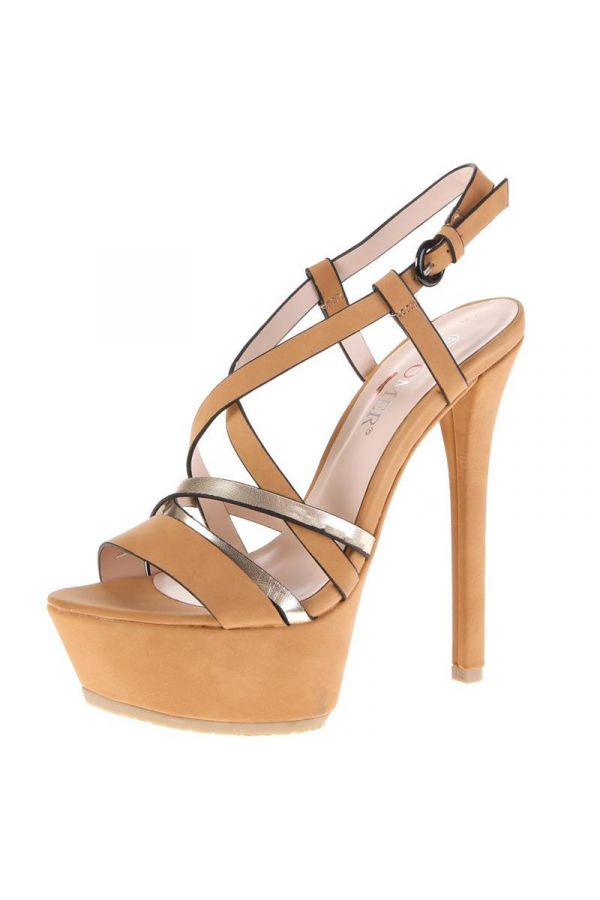 exclusive high heel suede sandal with silver straps and platform camel