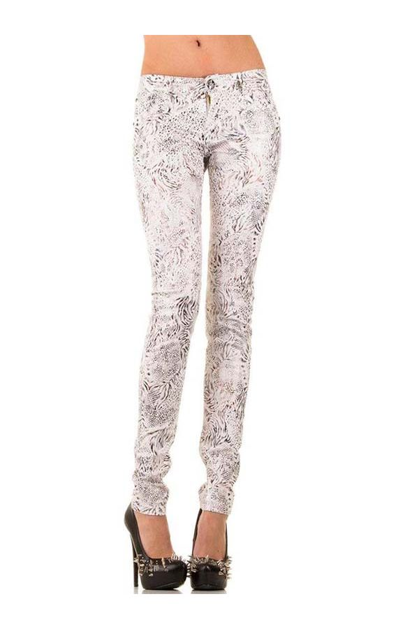 SWLS097B PANTS LEATHER FLORAL WHITE