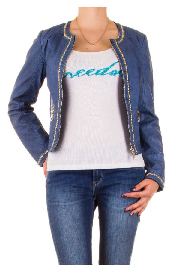 women leatherette jacket with gold zip and decorations blue