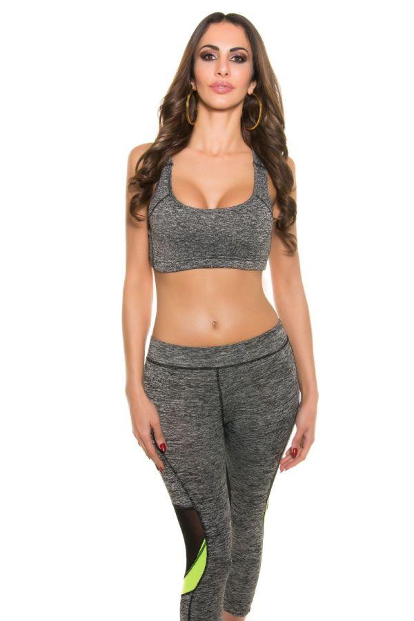top crop athletic sport grey.