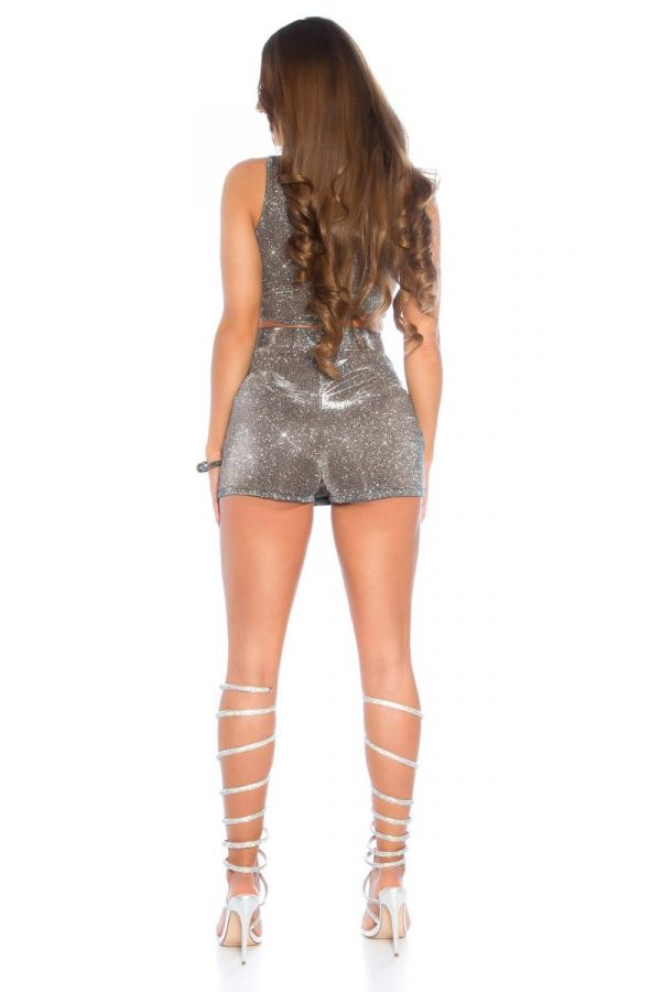 top crop formal shiny anthracite.