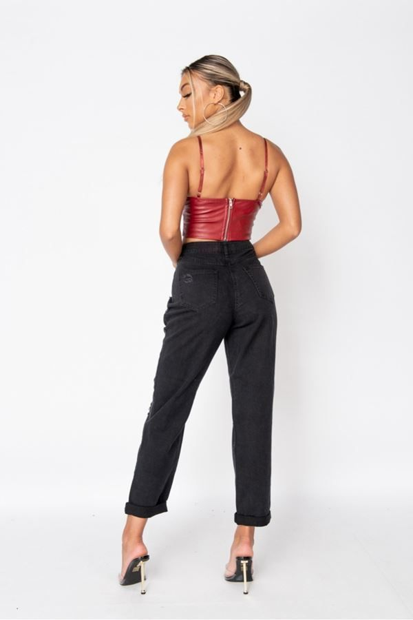 CROP TOP BUSTIER LEATHERETTE BORDEAUX PARN13563