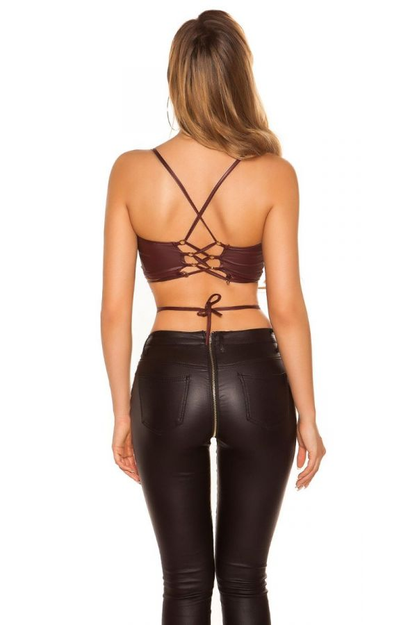 TOP CROP STRAPS WETLOOK BORDEAUX ISDT197253