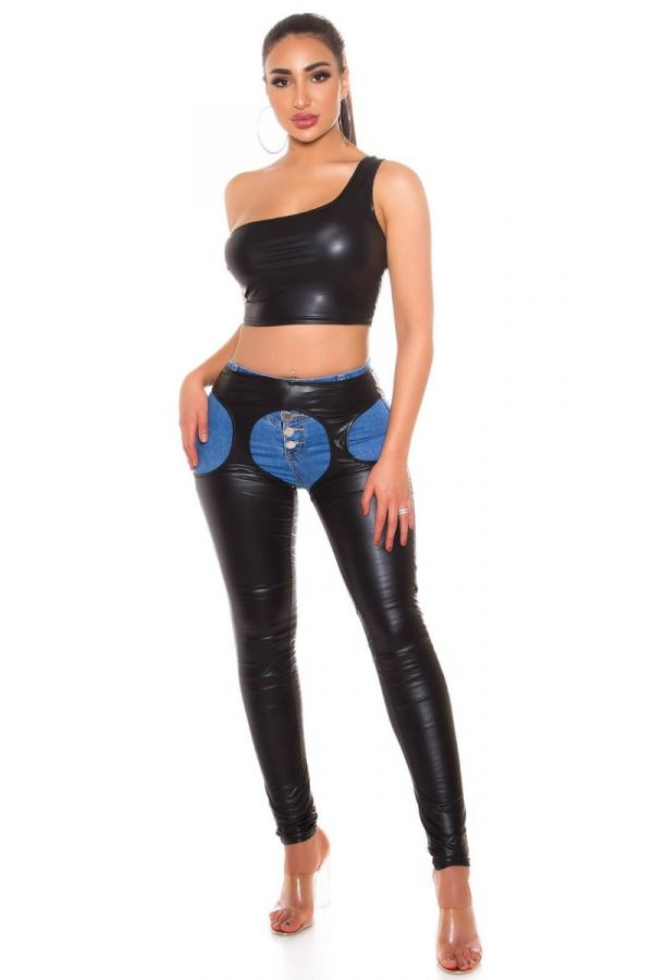 TOP CROP SEXY WETLOOK BLACK ISDT203977
