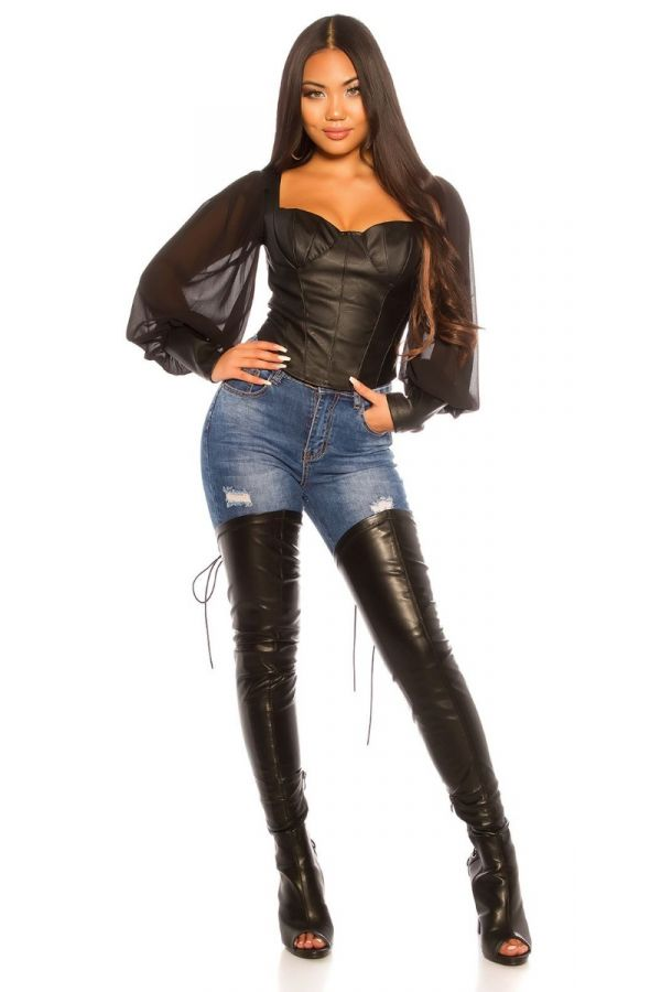 TOP CORSET LEATHERETTE BLACK ISDT14472E