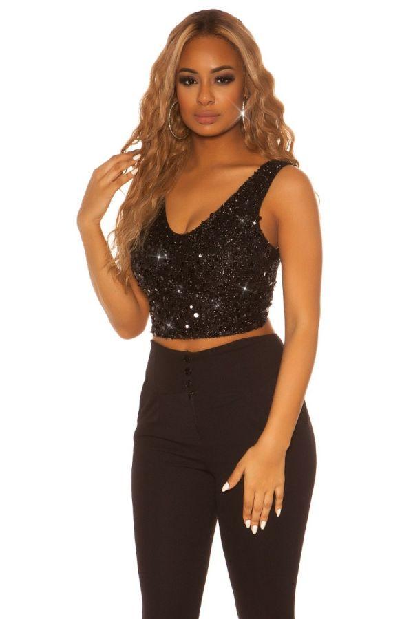 top formal crop sequins black.