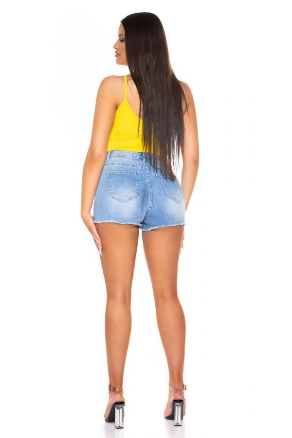 short top straps lace yellow.