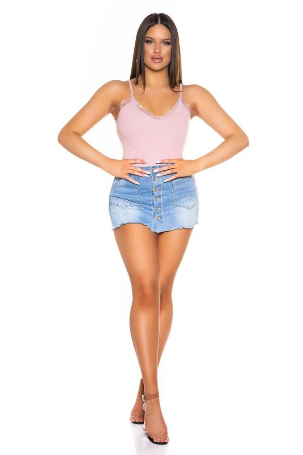 short top straps lace pink.