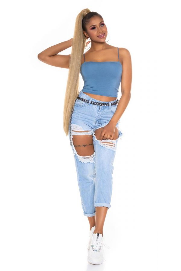 short top sexy straps blue.