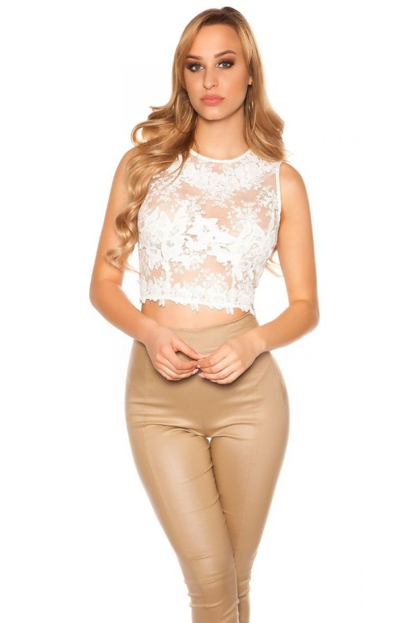 ISD932255 TOP CROP LACE CREAM