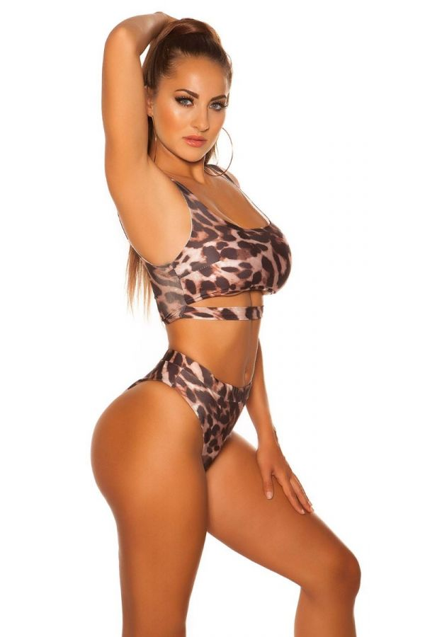 top swimsuit sexy strap leopard.