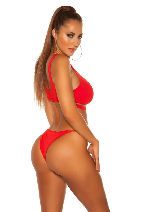 top swimsuit bra sexy strap red.