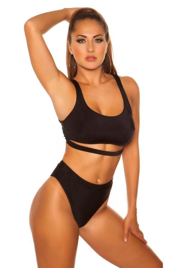 top swimsuit bra sexy strap black.