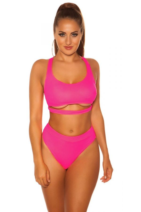 top swimsuit bra sexy strap neon pink.