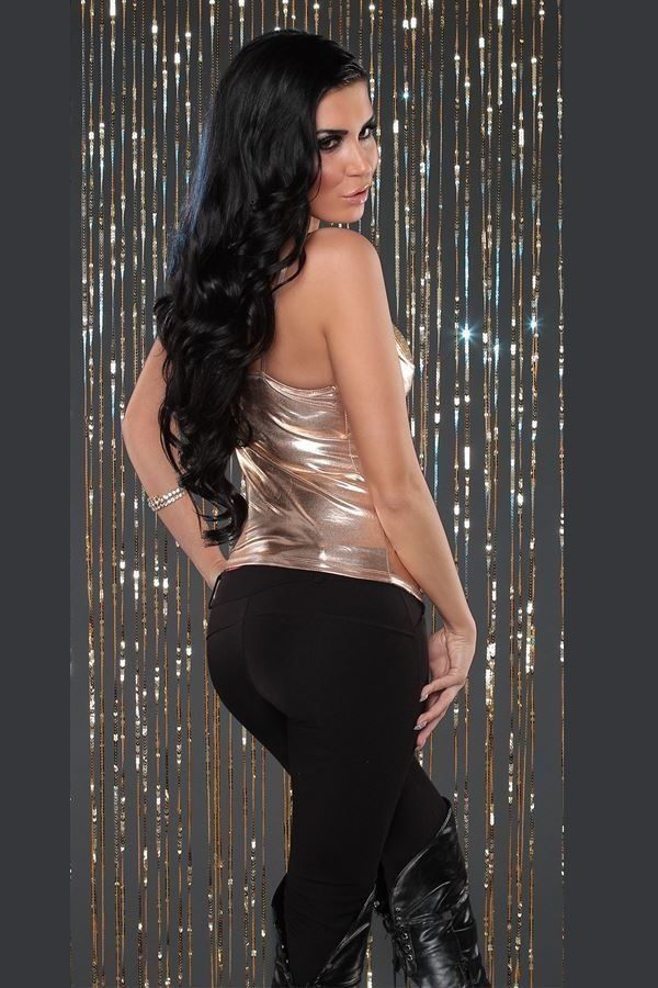 TOP BUSTIER EVENING SEQUINS WETLOOK GOLD ISDF212411