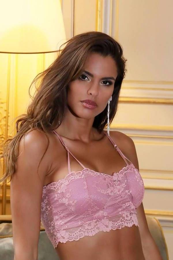 Bra Lingerie Padding Lace Pink GTOJ1146IR