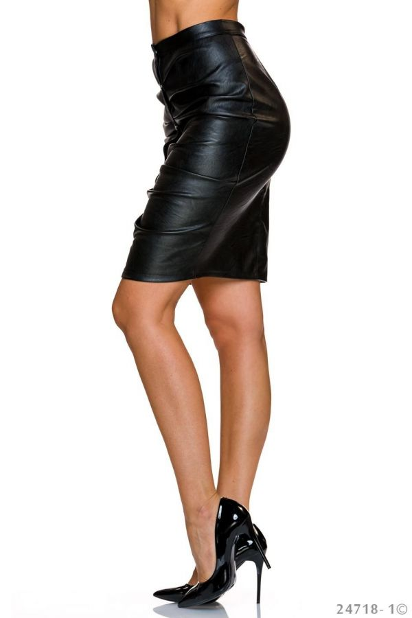 impressing leatherette midi skirt with metallic buttons front black