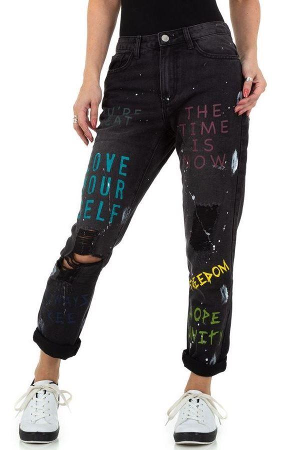 PANTS JEANS BOYFRIEND HIGH CROTCH BLACK FSWD11211