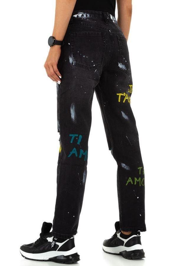 PANTS JEANS BOYFRIEND HIGH CROTCH BLACK FSWD11591
