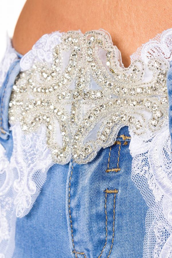 exclusive_handmade_capri_jean_pants_decorated_white_lace_blue