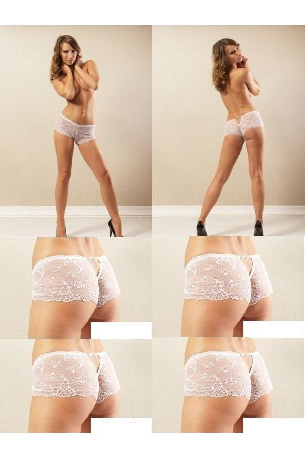 lingerie panty from lace decorated with lace white