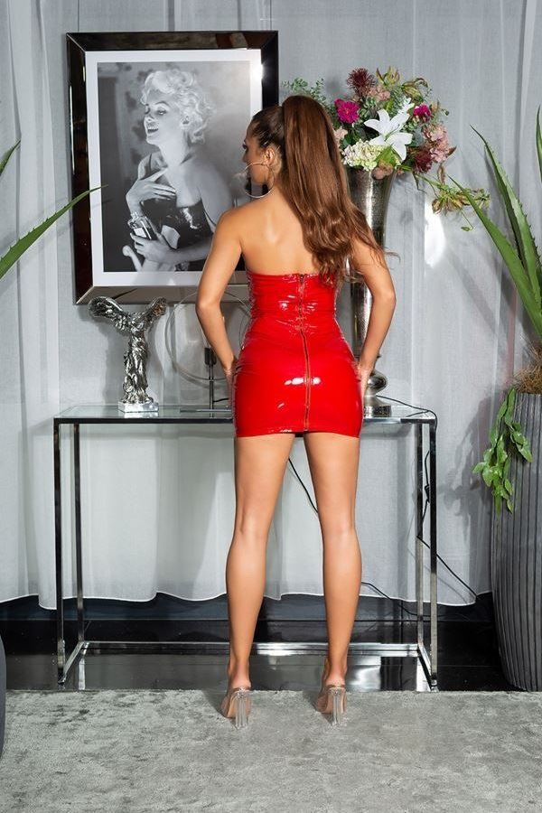 DRESS VINYL SEXY STRAPLESS RED ISDK194929