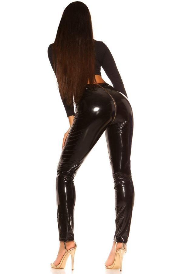 παντελόνι βινύλιο φερμουάρ πίσω μαύρο.